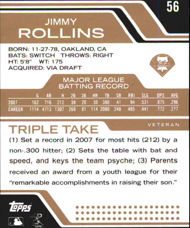 2008 Topps Triple Threads Sepia #56 Jimmy Rollins back image