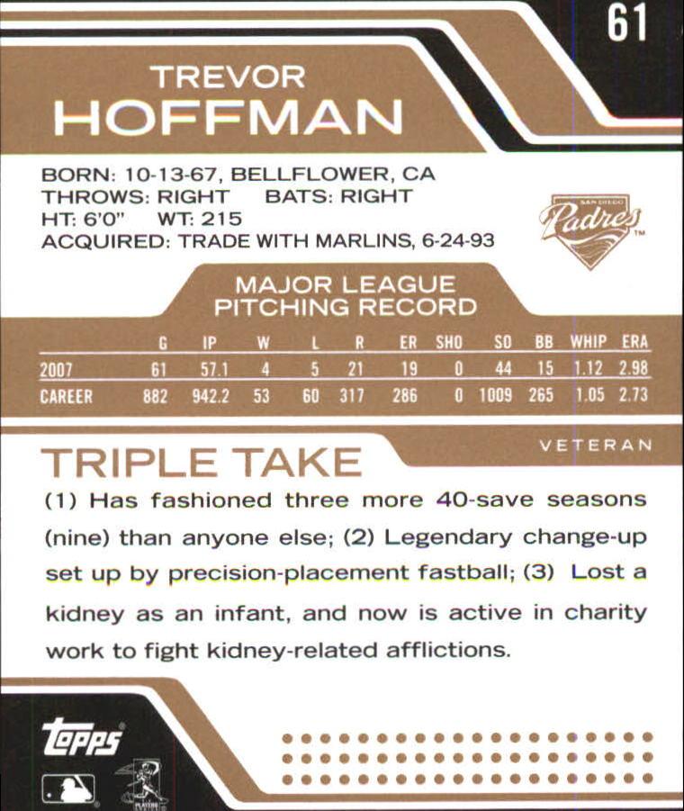 2008 Topps Triple Threads Sepia #61 Trevor Hoffman back image