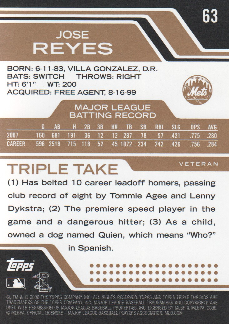 2008 Topps Triple Threads Sepia #63 Jose Reyes back image