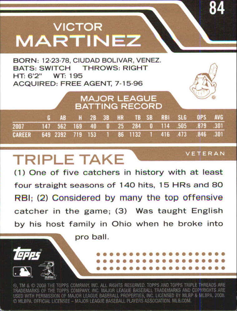 2008 Topps Triple Threads Sepia #84 Victor Martinez back image