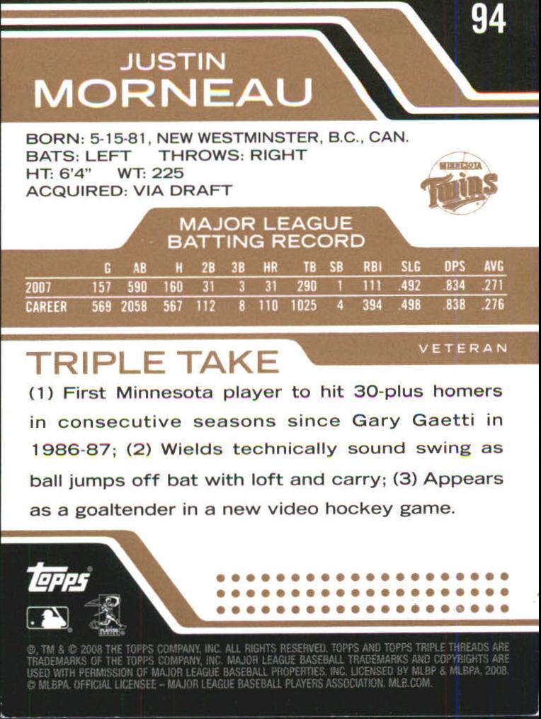 2008 Topps Triple Threads Sepia #94 Justin Morneau back image