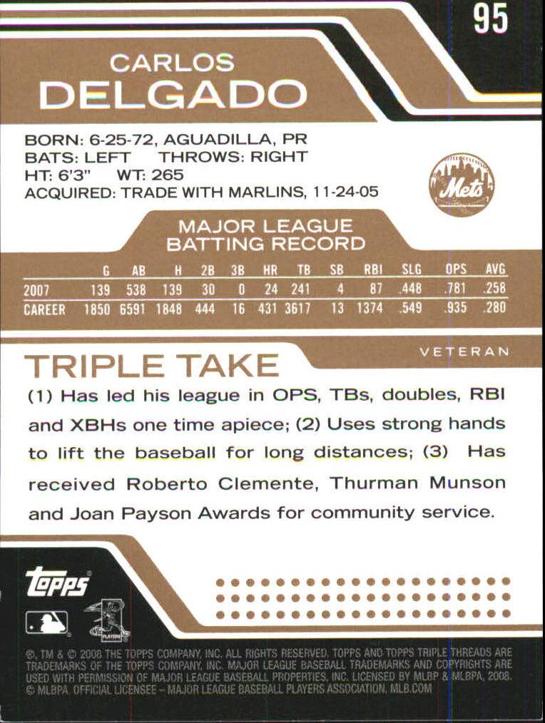 2008 Topps Triple Threads Sepia #95 Carlos Delgado back image