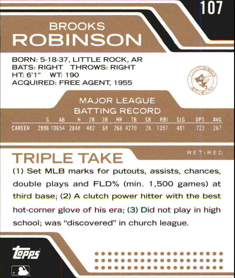 2008 Topps Triple Threads Sepia #107 Brooks Robinson back image