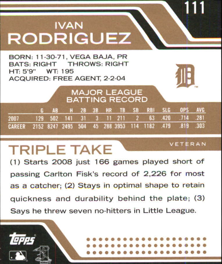 2008 Topps Triple Threads Sepia #111 Ivan Rodriguez back image