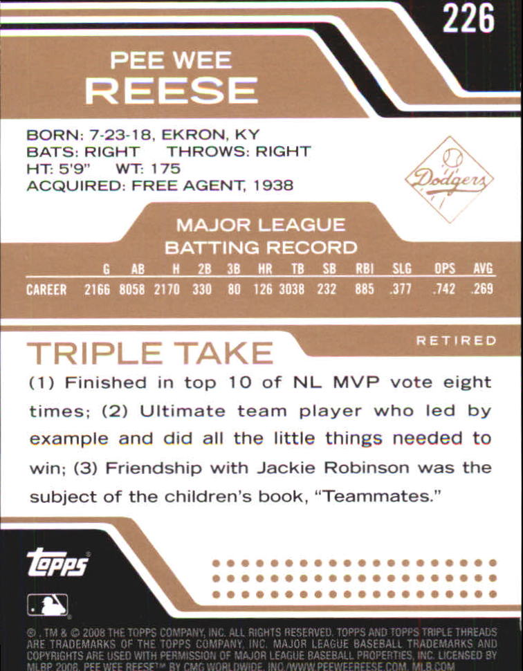 2008 Topps Triple Threads Sepia #226 Pee Wee Reese back image