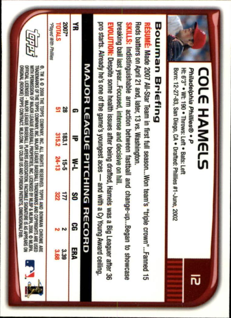 2008 Bowman Chrome #12 Cole Hamels back image