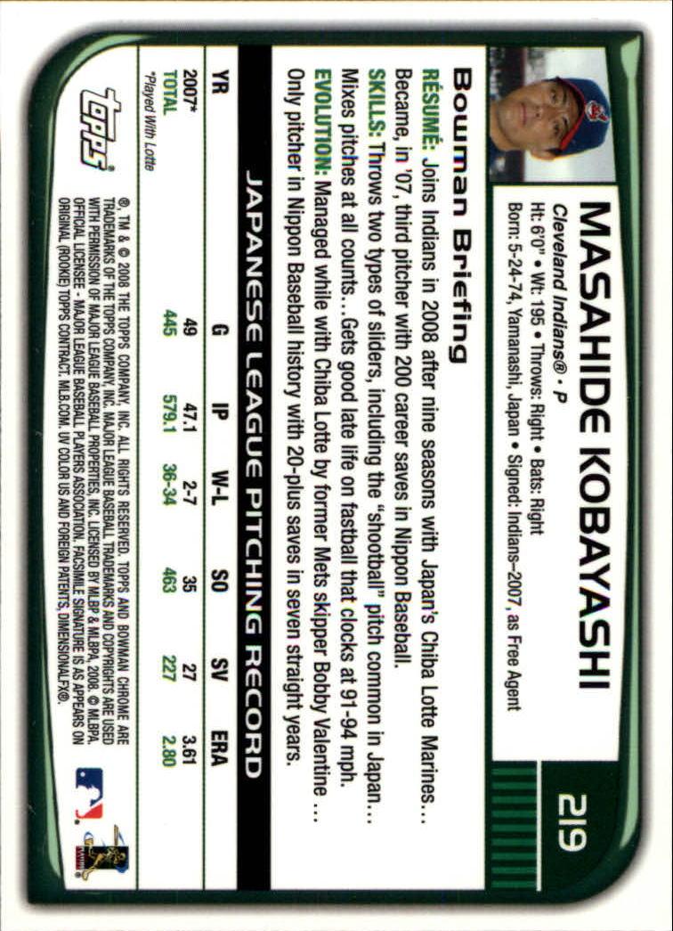 2008 Bowman Chrome #219 Masahide Kobayashi RC back image