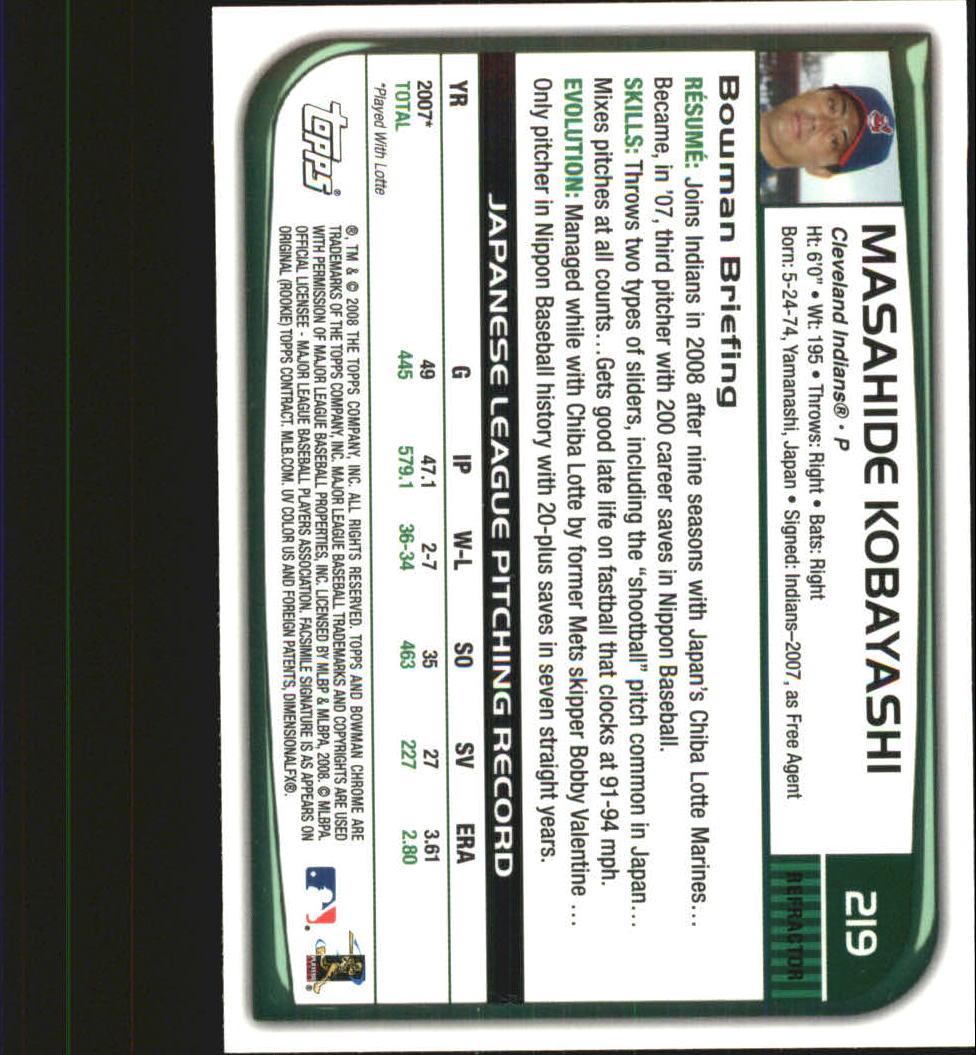 2008 Bowman Chrome Refractors #219 Masahide Kobayashi back image