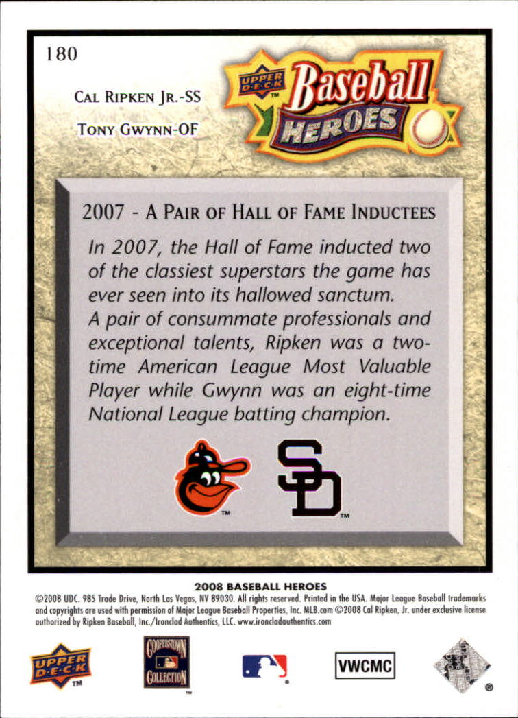 2008 Upper Deck Heroes #180 Cal Ripken Jr./Tony Gwynn back image