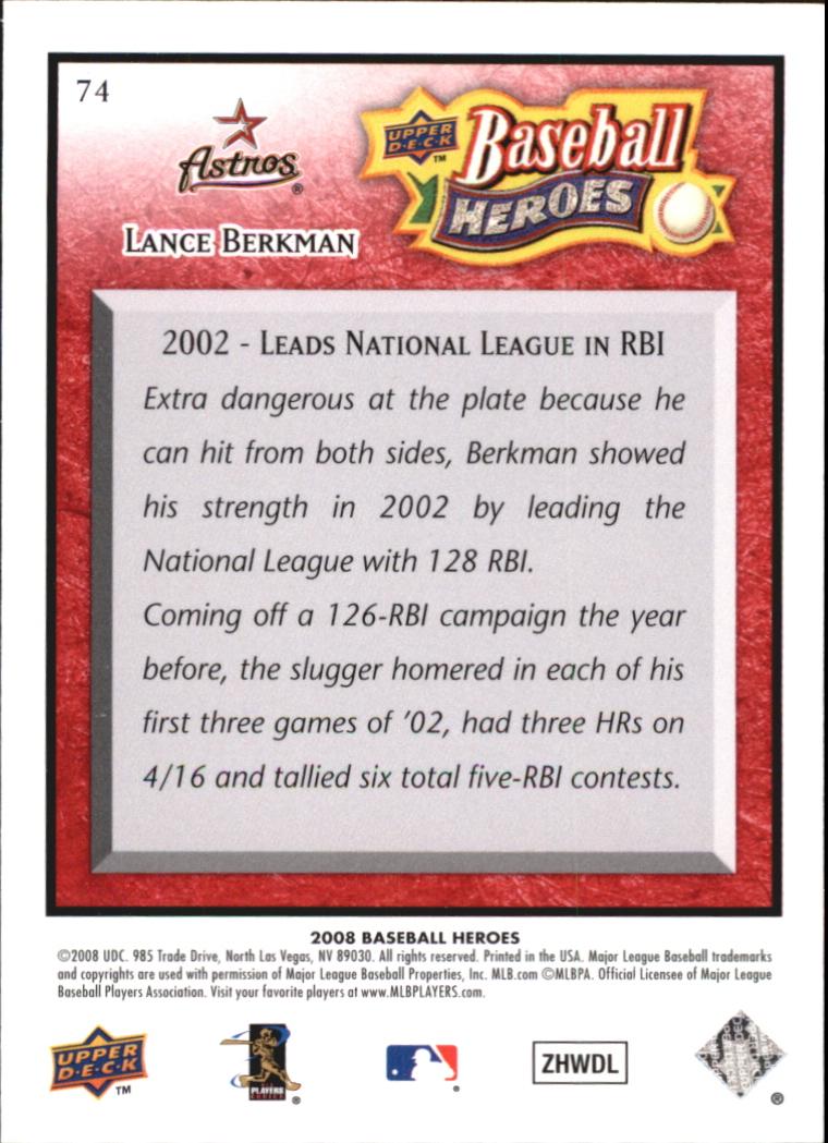 2008 Upper Deck Heroes Red #74 Lance Berkman back image