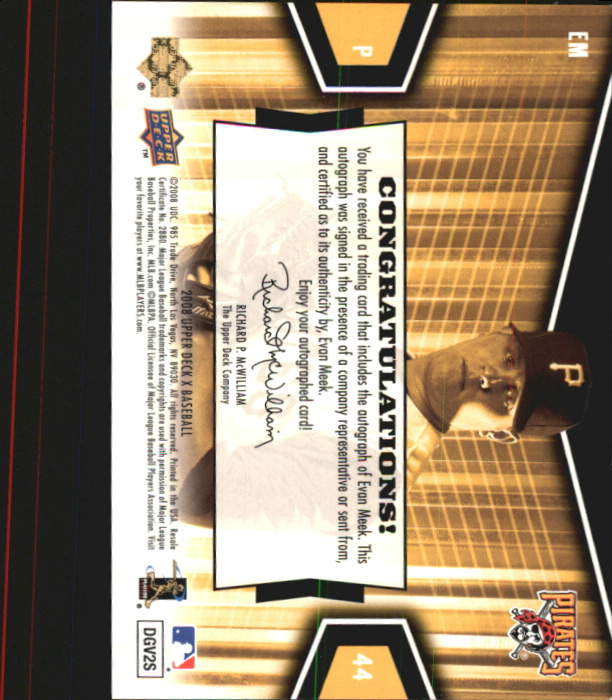 2008 Upper Deck X Signatures #EM Evan Meek back image