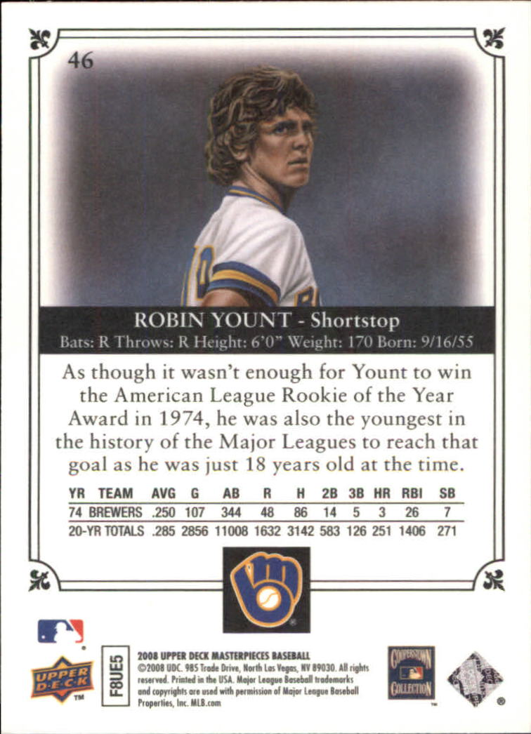 2008 UD Masterpieces #46 Robin Yount back image