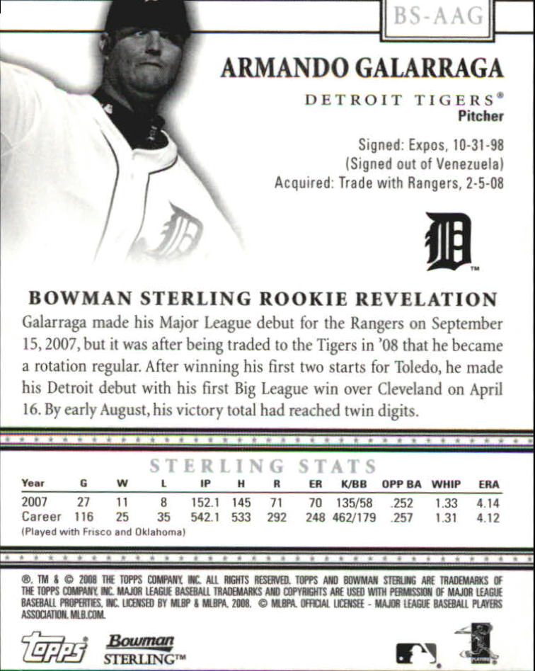 2008 Bowman Sterling #AAG Armando Galarraga AU RC back image