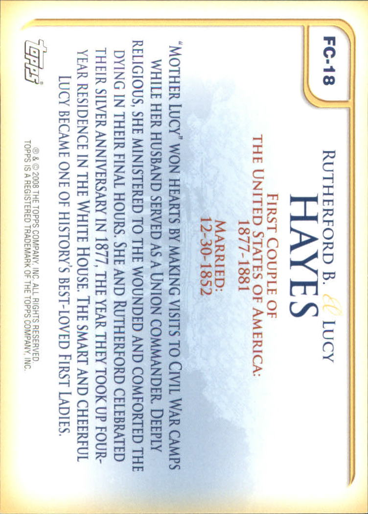 2008 Topps Update First Couples #FC18 Rutherford B. Hayes/Lucy Hayes back image