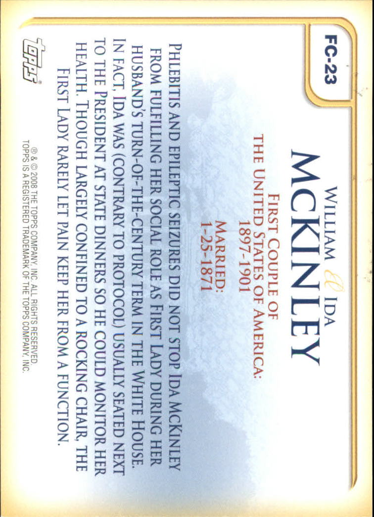 2008 Topps Update First Couples #FC23 William McKinley/Ida McKinley back image