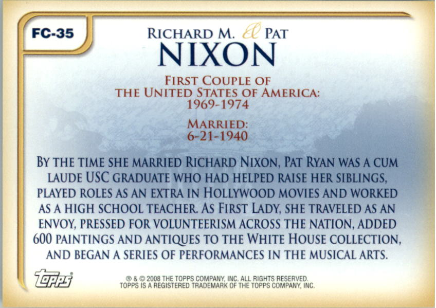 2008 Topps Update First Couples #FC35 Richard M. Nixon /Pat Nixon back image