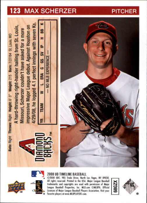 2008 Upper Deck Timeline #123 Max Scherzer 92 ML RC back image