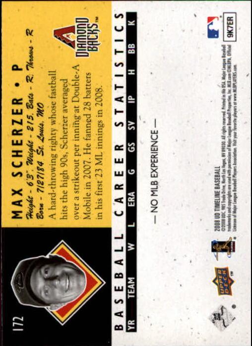 2008 Upper Deck Timeline #172 Max Scherzer 94 ATH RC back image