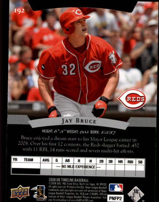 2008 Upper Deck Timeline #192 Jay Bruce 95 STP (RC) back image