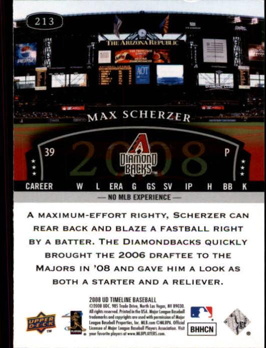2008 Upper Deck Timeline #213 Max Scherzer 04 TT RC back image