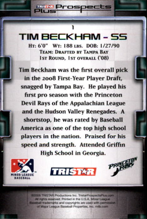 2008 TRISTAR Prospects Plus #1 Tim Beckham PD back image