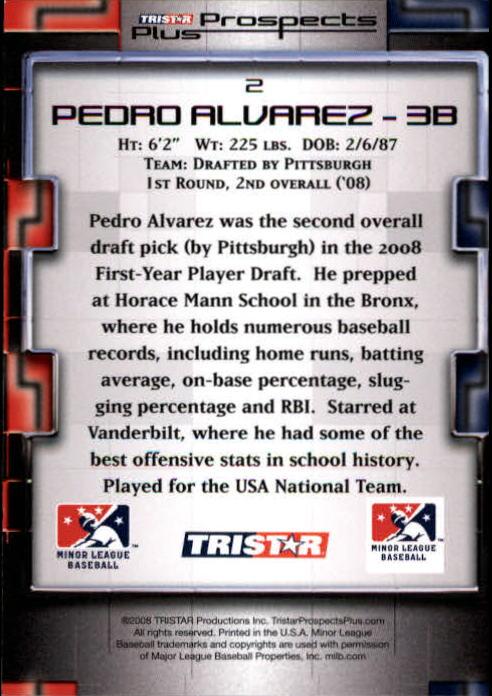 2008 TRISTAR Prospects Plus #2 Pedro Alvarez back image