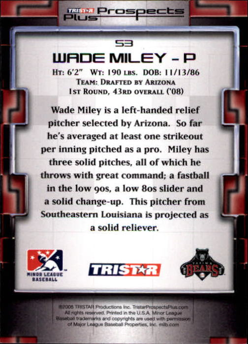 2008 TRISTAR Prospects Plus #53 Wade Miley PD back image