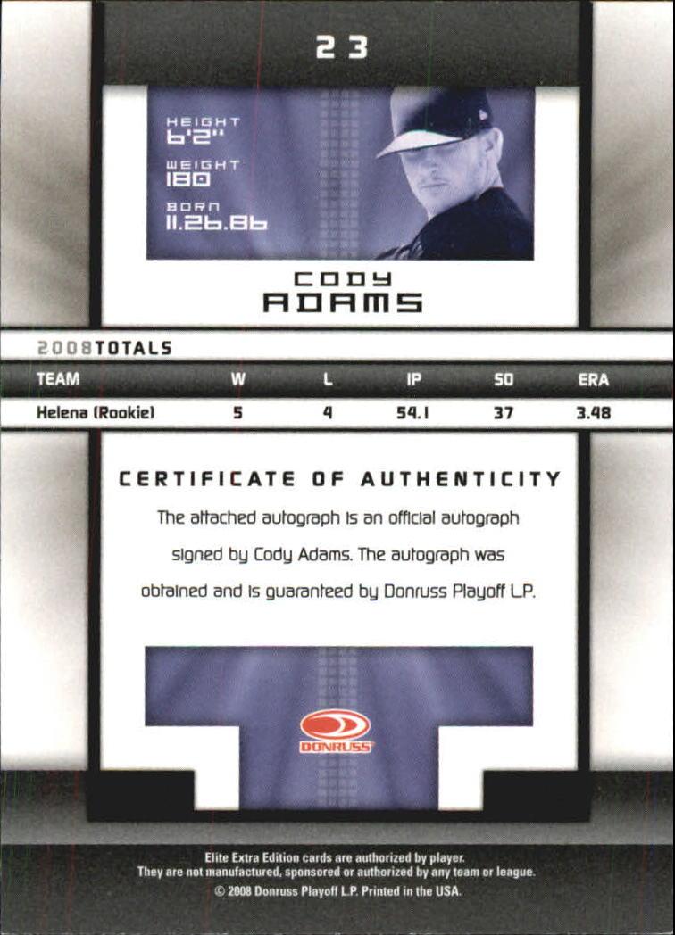2008 Donruss Elite Extra Edition Signature Turn of the Century #23 Cody Adams/447 back image