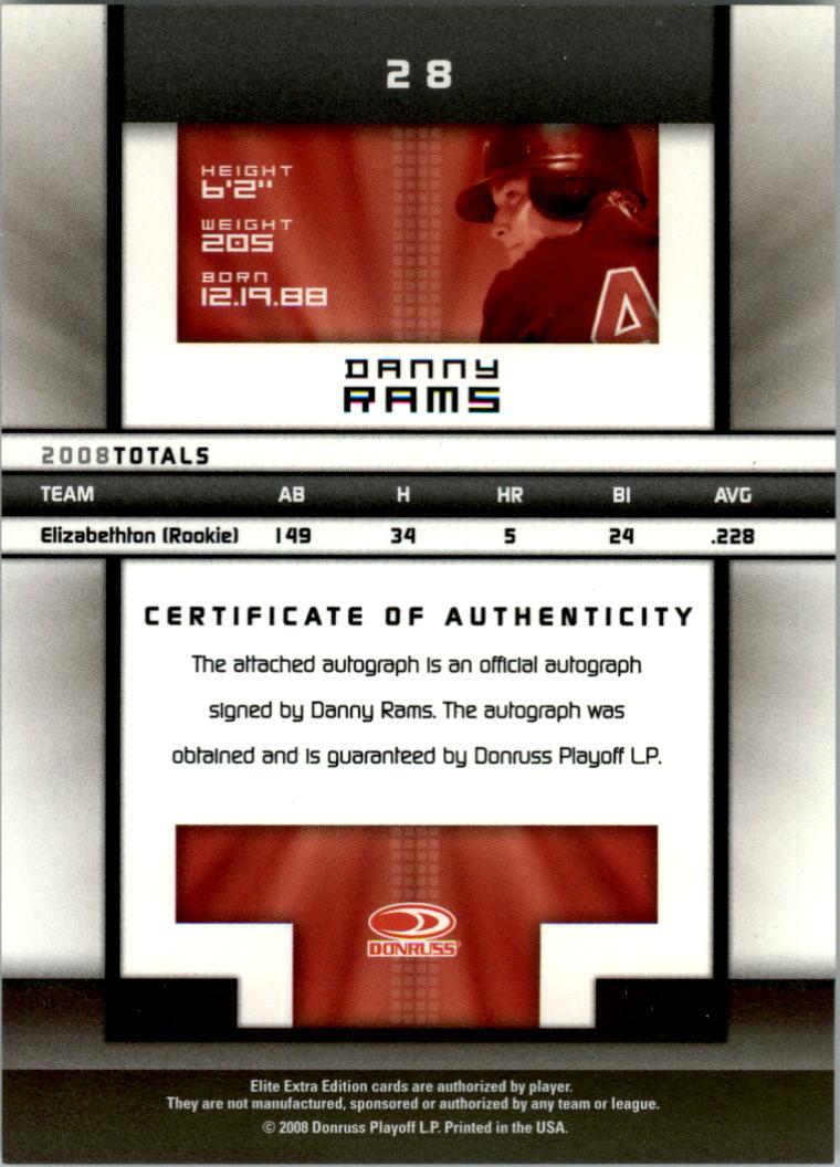 2008 Donruss Elite Extra Edition Signature Turn of the Century #28 Danny Rams/594 back image