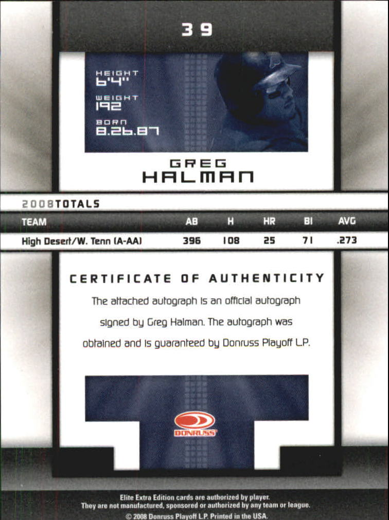2008 Donruss Elite Extra Edition Signature Turn of the Century #39 Greg Halman/429 back image