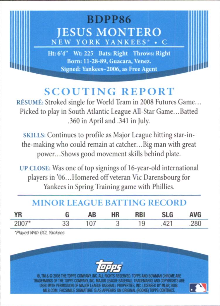2008 Bowman Draft Prospects #BDPP86 Jesus Montero FG back image