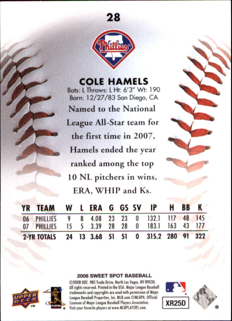 2008 Sweet Spot #28 Cole Hamels back image