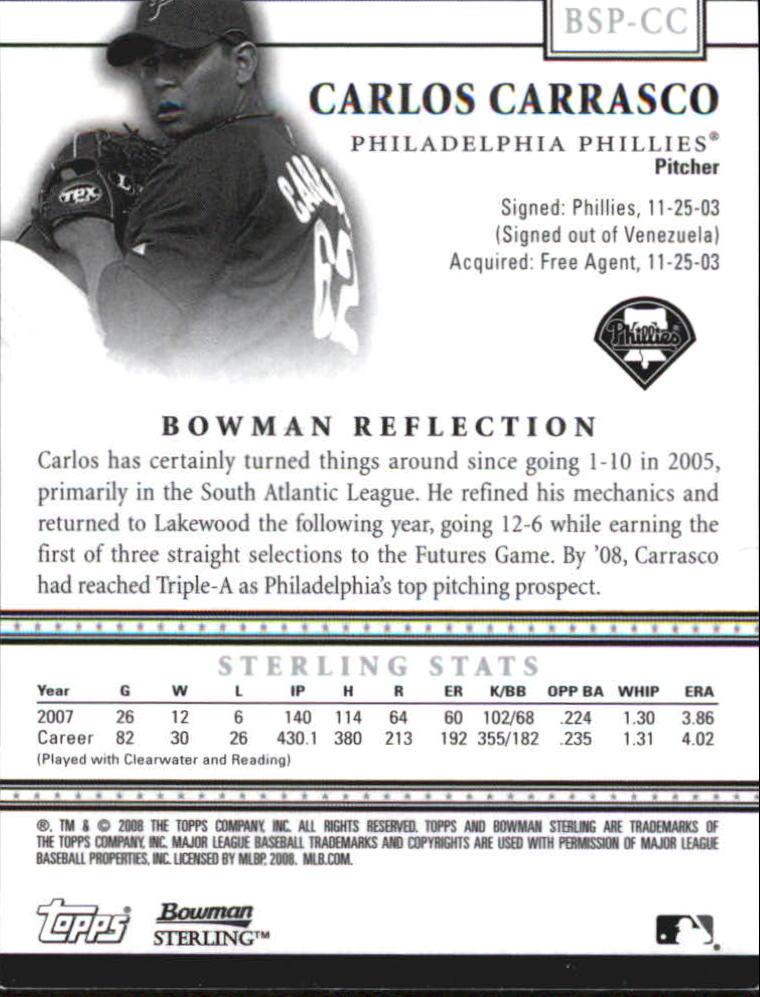 2008 Bowman Sterling Prospects #CC Carlos Carrasco Jsy AU back image
