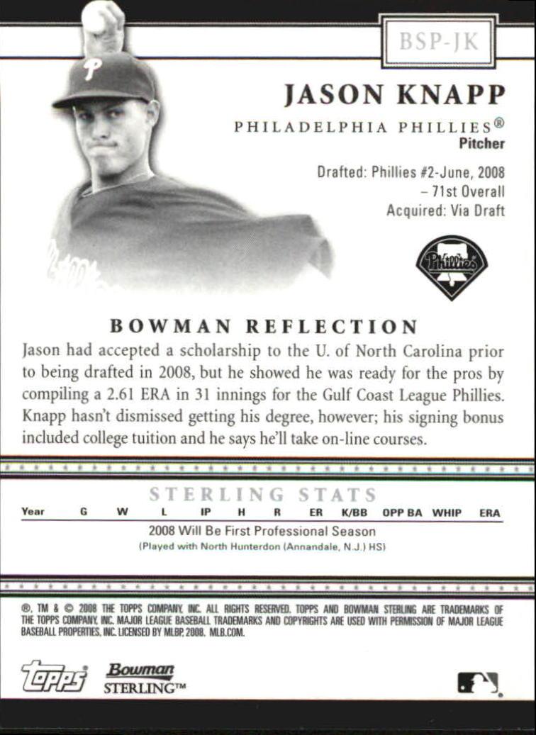 2008 Bowman Sterling Prospects #JK Jason Knapp AU back image