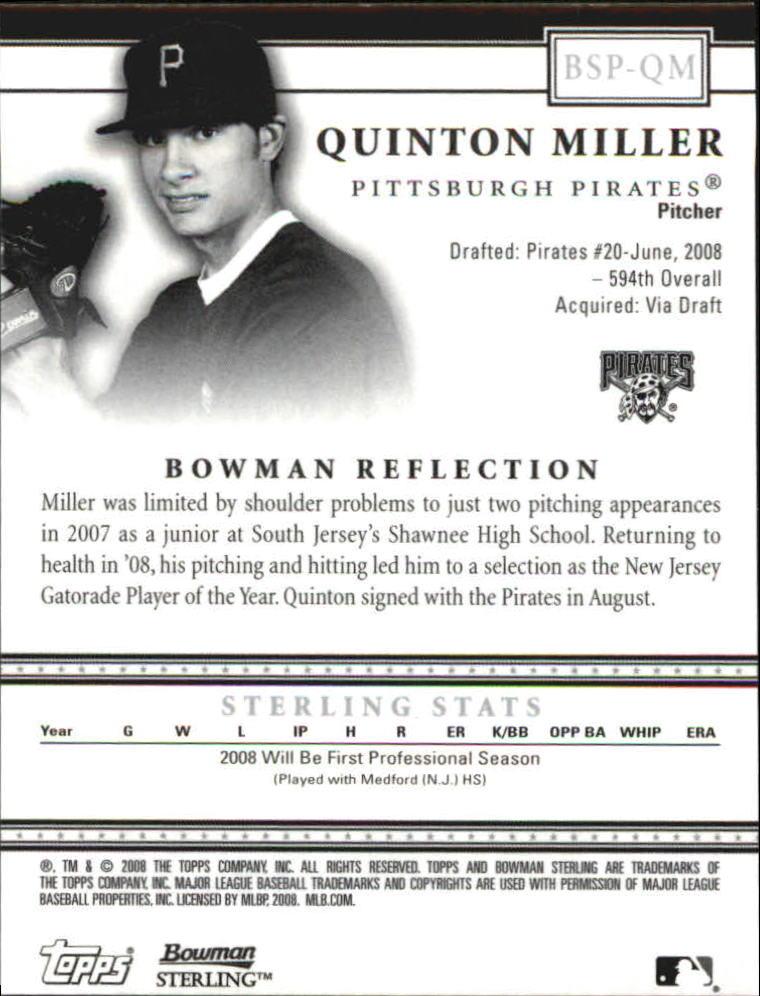 2008 Bowman Sterling Prospects #QM Quinton Miller AU back image