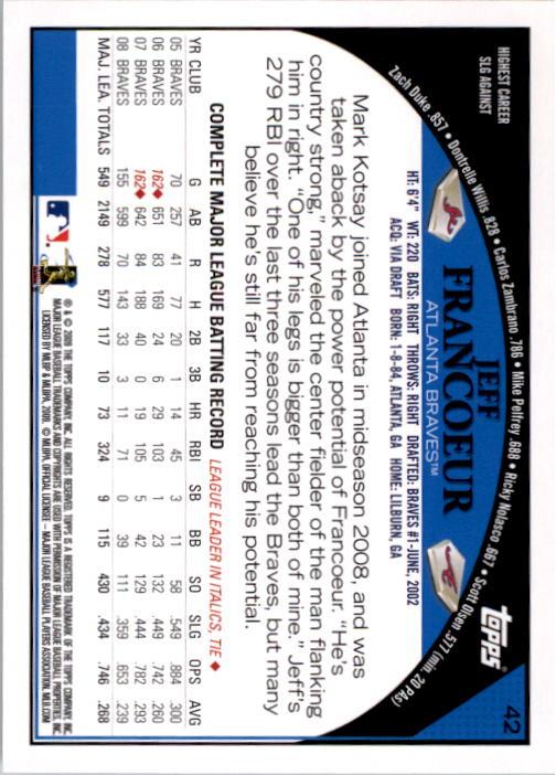 2009 Topps #42 Jeff Francoeur back image
