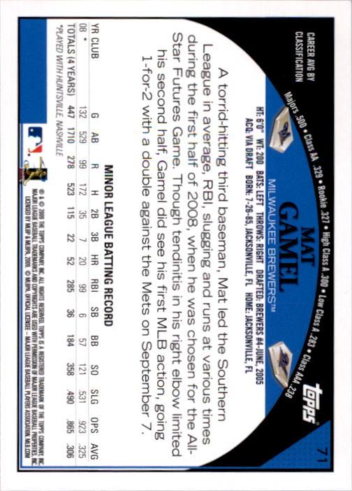 2009 Topps #71 Mat Gamel RC back image