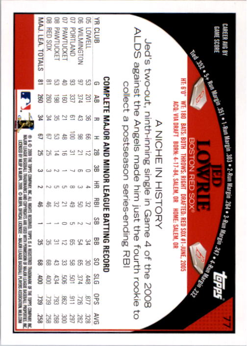 2009 Topps #77 Jed Lowrie back image