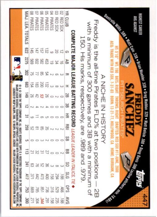 2009 Topps #447 Freddy Sanchez back image