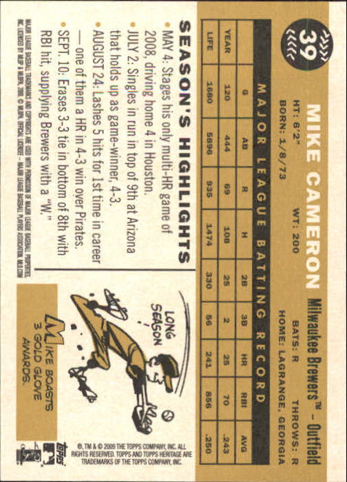 2009 Topps Heritage #39 Mike Cameron back image