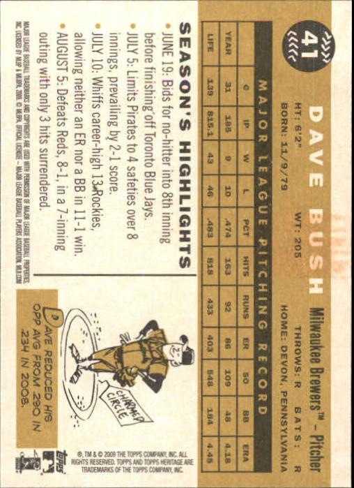 2009 Topps Heritage #41 Dave Bush back image