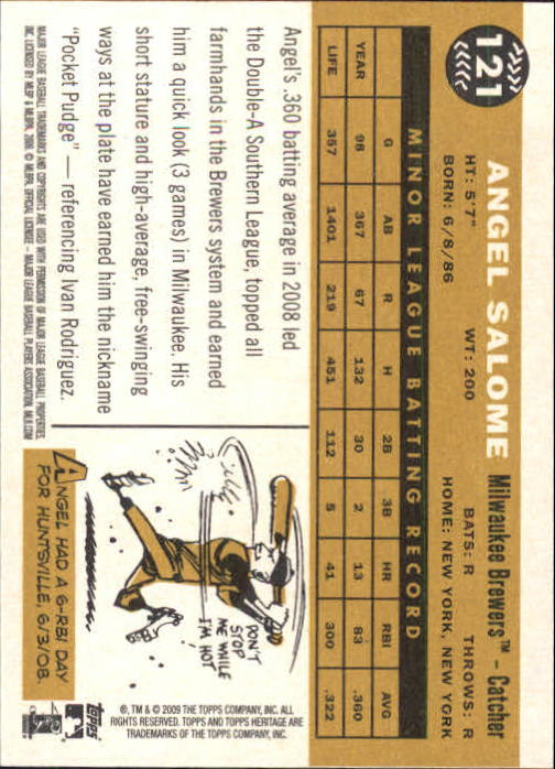 2009 Topps Heritage #121 Angel Salome (RC) back image