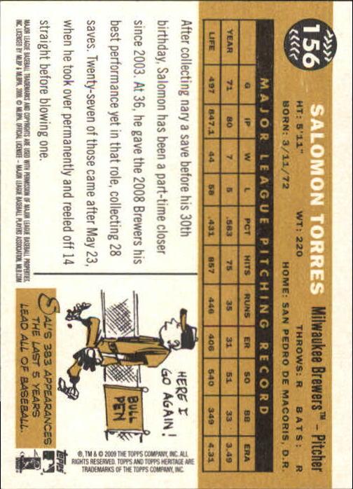 2009 Topps Heritage #156 Salomon Torres back image