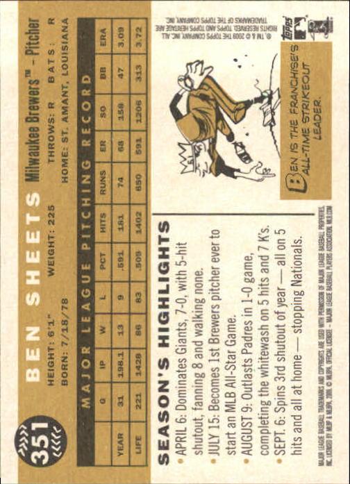 2009 Topps Heritage #351 Ben Sheets back image