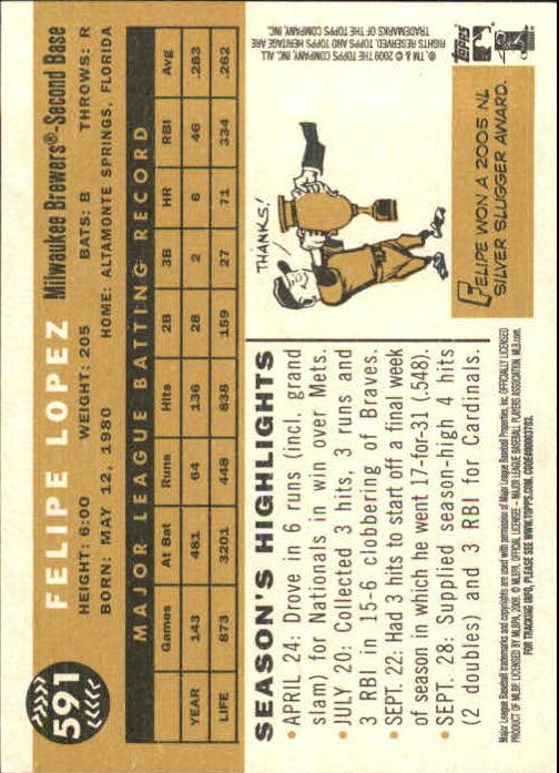 2009 Topps Heritage #591 Felipe Lopez back image