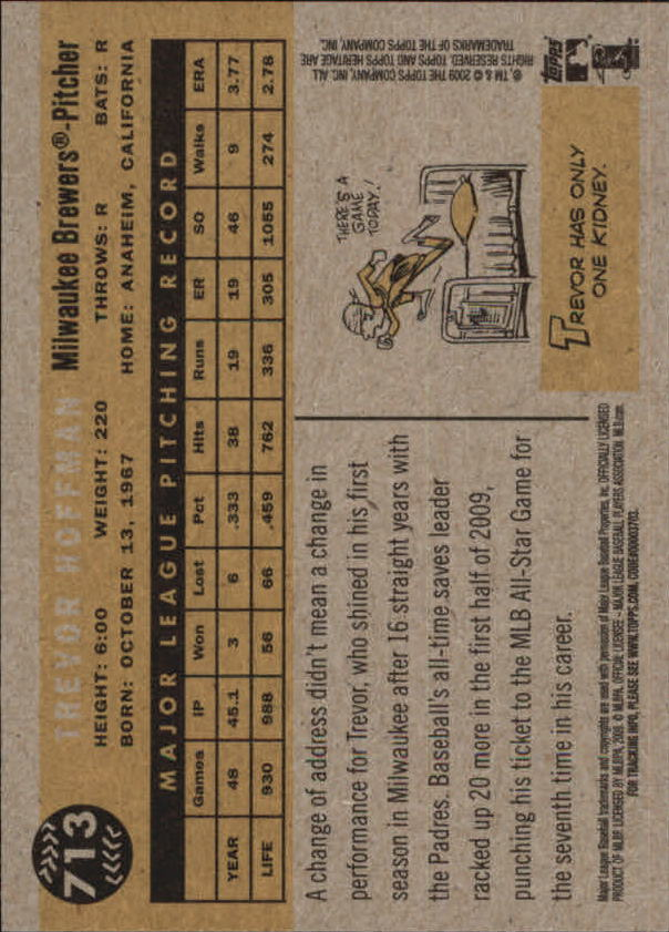2009 Topps Heritage #713 Trevor Hoffman SP back image