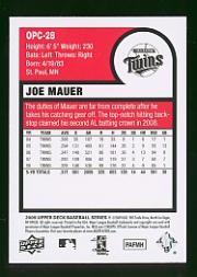 2009 Upper Deck O-Pee-Chee Mini #OPC28 Joe Mauer back image