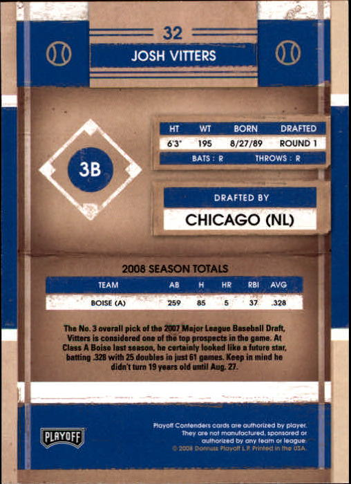 2008 Playoff Contenders #32 Josh Vitters back image