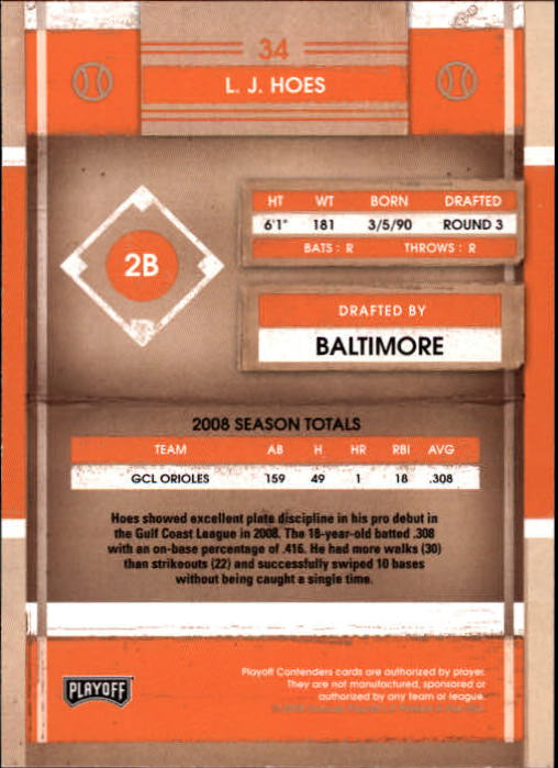 2008 Playoff Contenders #34 L. J. Hoes back image