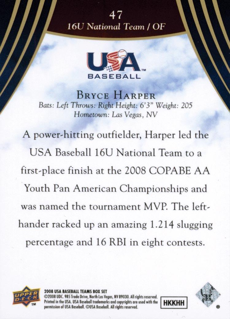 2008-09 USA Baseball #47 Bryce Harper back image